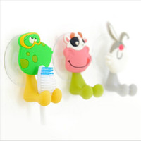Wholesale cute Cartoon sucker tooth brush holder suction hooks plastic suction hook Clothes hanger hook washing bathroom