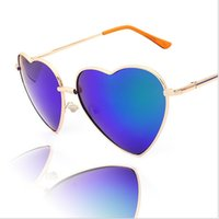 Wholesale AAA quality Fashion American Retro Style sunglasses Funny Metal heart shaped sunglasses retro style Mercury Sunglasses LJJD1177