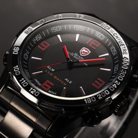 stainless steel buckle - Brand New SHARK Analog LED Dual Time Display Day Date Alarm Black Stainless Steel ATM Waterproof Red Sports Wrist Quartz Mens Watch SH007