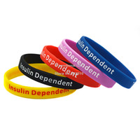 Cheap Wholesale 100PCS Lot Medical Alert Silicone Wristband Type 1 Diabetes Insulin Dependent Bracelet 5Colours Adult Size