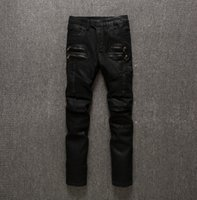Wholesale Balmain Cargo Black Wax Coating biker jeans size