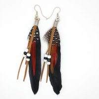Wholesale 9 Colors Charm Women Feather Earrings Fashion New Colorful Vintage Luxury Long Dangle Earrings Bijoux Brincos Jewelry