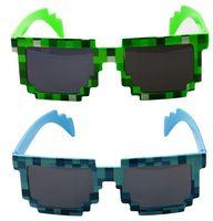 Cheap Minecraft Sunglasses For Fashion Women Men Green and Blue Sunglasses Block Pixel Sunglass Computer Nerd Geek Gamer 8 Bit Glasses