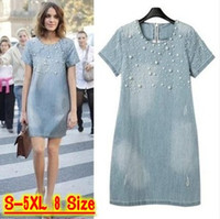 Plus Size Dresses beaded casual wear - Dresses For Women s Women Denim Dress Loose Short Sleeve Jeans Dress O Neck Casual Washed Beaded Elegant Evening Party Lady Dresses XL