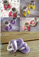 Wholesale 22 off Cute bow baby sandals Summer wool crochet toddler shoes Hand woven Mary Jane barefoot sandals pair