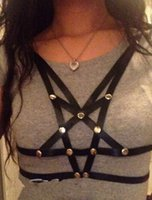 Cheap HANDMADE Punk Rivet Sexy Black PU Pentacle Bondage Belt Corset Harness
