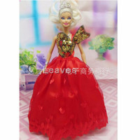Wholesale mix color Handmade Toy inch kids baby doll Clothes for girls Red peng skirt embroidery wedding dress best gift for my baby