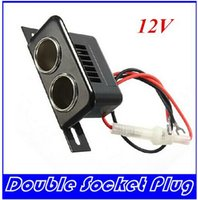 Wholesale 12V Female Car Cigar Cigarette Lighter Double Socket Plug Connector Adapter HIGHT QUALITY