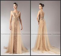 beaded pageant dress - New Formal Evening Dresses V Neck Appliques Beads Backless A Line Long Tulle Elegant Champagne Sheer Dress For Prom Pageant Party Gowns