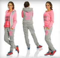 Cheap sports suit for women Casual letter Three piece suit sweatshirt pants suit sportswear Vest +Sweatshirt+Pants women sport set1134