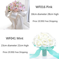 Floor-Length artificial flowers silk roses - 2015 Pink Mint Cheap Bridal Wedding Bouquets Decorations Artificial Bridesmaid Crystal Silk Holding Rose Flowers Beach Bridal Party Favors