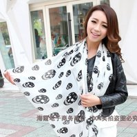 Wholesale Cheap Skull Scarves Chiffon Colors Mix Cheap Size CM CM S3