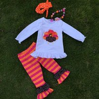 autumn necklace - Thanksgiving day holiday outfits new girls design suit turkey top stripes pant set with matching necklace and headbans set
