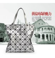 bag over shoulder - Geometric lattice laser portable folding bag leather diamond single shoulder bag new Japanese high end brand