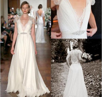 Wholesale Jenny Packham Modest Sheath Wedding Dresses Deep V Neck Capped Sleeves Floor Length Beading Sash Lace Chiffon Bohemian Bridal Gowns