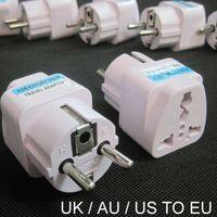 ac electrical wholesale - 100 Universal Pin AC Power Electrical Plug Adaptor Converter Travel Power Charger UK US AU To EU Plug Adapter Socket