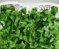 Wholesale 240cm Fence Artificial Grape Leaf Green Leaves Climbing vines rattan for Home Decor Bar Restaurant Wedding fence Decoration