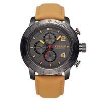 watches men - CURREN Watches Men Luxury Brand Genuine leather Straps Waterproof Luminous Shock Fashion Casual Quartz Watch Relogio masculin