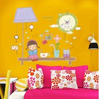 Wholesale Little Girl Reading Adesivo De Parede For Home Living Room Bedroom Kids Rooms Wall Clock Vinyl Decals Wall Poster cm