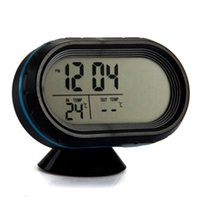 Wholesale New Backlight LCD ABS Car Digital Alarm Clock Voltmeter Degree C Degree C Thermometer Voltage Meter black blue edge