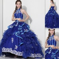 balls website - Royal Blue Halter Quinceanera Dresses Ball Gowns Websites Organza And Lace Puffy Ruffles Style Bandage Sweet Girls Dress Under