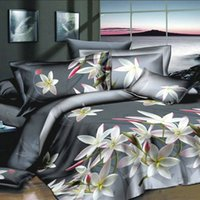 Wholesale 4pcs D Printed Bedding Set Bedclothes White Lily on Light Black Background Queen King Size Duvet Cover Bed Sheet Pillowcases H15510
