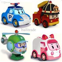 Cheap Wholesale-4pcs lot kids toys robot Transform festival gifts deformation helicopter fire truck police action figure doll boys and girls toy