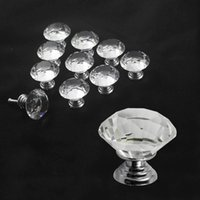 glass cabinet knobs - 10pcs Multi color mmDiamond Shape Crystal Glass Pull Handle Cupboard Cabinet Drawer Door Furniture Knob Wholesales sls z