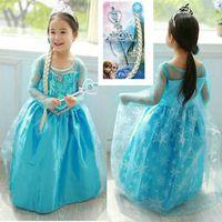 Wholesale Frozen Dress Children Clothing Girl Elsa Princess Dress Long Dresses Baby Frozen Dresses Kids Wear Fashional