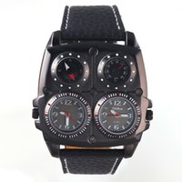 Wholesale Fashional Men s Military Oversize Multi Time Zones Sports Wrist Watch Quartz Watch With PU Leather