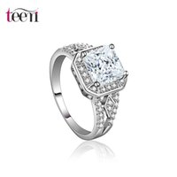 Wholesale Teemi Brand Engagement Rings for Women White gold Plated Wedding Square CZ Diamond Jewelry Trendy Bague Luxury Bijoux Accessories