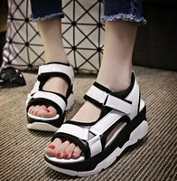 Wholesale Brand new Fashion Women shoes European style sandal flats Shoes Flat Sandals Casual shoes Color matching Platform shoes flip flops A002S