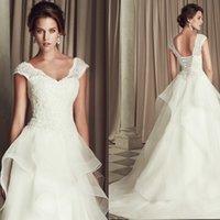 Wholesale 2014 New Sexy V Neck Lace Applique A line wedding Dress SOM