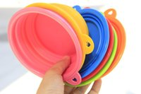 Wholesale 10 dogs dog shop pet supplies Pet Dog Cat Fashion Silicone Collapsible Feeding Water Feeder Travel Bowl Dish