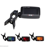 Wholesale Clip on Electric Tuner Three Colors Backlit Screen fr Guitar Chromatic Bass