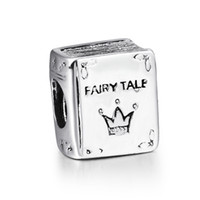 bead jewelry books - Sterling Silver Charm Fairy Tales Book European Charms Bead Fit Snake Chain Bracelet Female DIY Jewelry