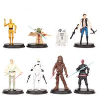 Acheter L'action de guerre-8pcs / lot dessin animé Star Wars figure d'action R2 Jedi Chewbacca Etc clone chiffres jouets modèle Collection Anime jouets pour les enfants Cadeaux