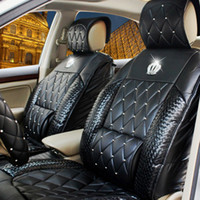 Wholesale Automobile Diamond Rhinestone Crown Jushi Cushion Four Seasons General Purpose Vehicle Leather Car Seat Cover Set For Full Chartered Pad