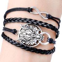 alloy compounds - 2015 Best selling European Fashion Personality Wolf Bracelet Compound Woven Bracelet Black Drop Shipping BL