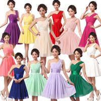 aqua bridesmaids - 2015 Cheap under Sexy one shoulder Chiffon Evening Dresses Prom wedding short Party Dress Bridesmaid red aqua Dresses