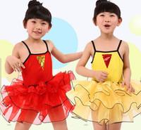 ballet dance costumes - Girls Lace Tutu Suspender Dresses Summer Kids Clothes Girl Ballet Dance Dress Performance Modern Dance Costumes Red Yellow I4025