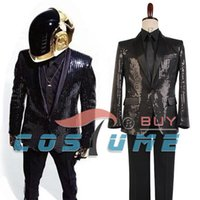 daft punk - Daft Punk Sparking Black Sequin Performance Jacket Pants Outfits Robot Cosplay Costume Purple Version Custom Made