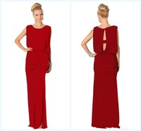 Cheap Beads Edge Scoop Neckline Red Mother Of The Bride Dresses 2014 Spring Hot Sales Floor Length Rushed Chiffon Groom Mother Gown