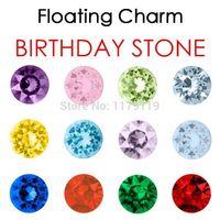 origami owl - New Fashion12 Colors MIX Crystal Round Rhinestone Birthday Stones Floating Charm For Origami Owl Lockets Jewelry