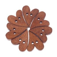 Wholesale 10 Brown Wood Wooden Sewing Heart Shape Button Craft Scrapbooking T1554 W0