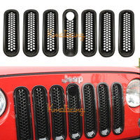 3.66 inch jeep wrangler - For JEEP Black ABS Front Mesh Grille Auto Car Stlying Grill Insert Protective Trim For Wrangler JK With Lock Hole