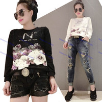 big name clothing brands - Brand New Spring and Autumn Fashion Women s Clothing Tops Tees Big name fashion printing cover lace N long sleeve T shirt
