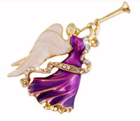 alloy trumpets - Purple Tanzanite Crystal Rhinestone Enameling Trumpet Angels Brooches Fashion Costume Pin Brooch Jewelry Christmas gift for women