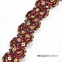 achat en gros de artisanat sequin applique-Paillettes d'or en perles de perles en tissu rouge Applique tressées en dentelle d'ornements de dentelle en tissu d'armure pour les tissus d'artisanat 20yard / T780