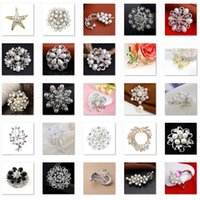 asian fruits - Low sales Brooches Rhinestone Flowers Fruit Pearl Pins Different Styles Brooch LKYLB003